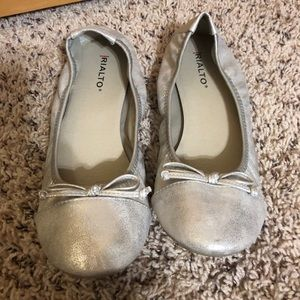 Silver ballet style flats